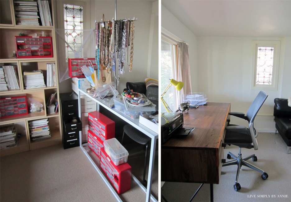 Basement workspace before and after //  Live Simply by Annie, professional organizing services