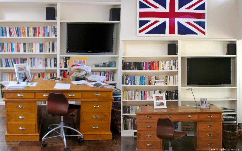 Library before & after // Live Simply by Annie, professional organizing services