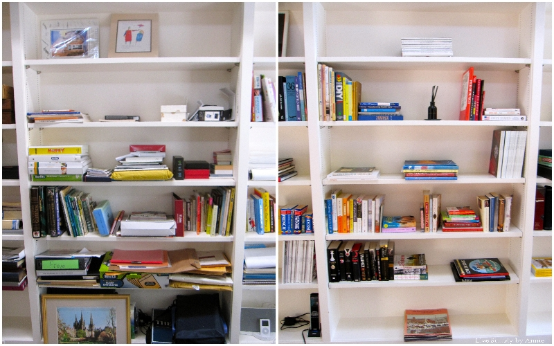 Library shelves before & after // Live Simply by Annie, professional organizing services