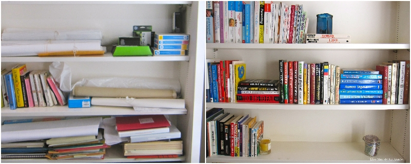 Library shelves before & after // Live Simply by Annie, professional organizing services -