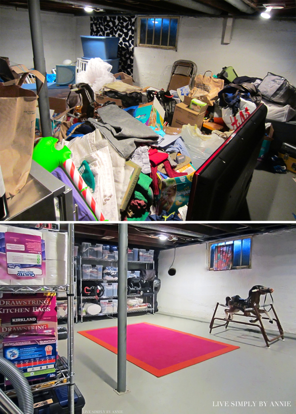 Basement before & after // Live Simply by Annie, professional organizing services