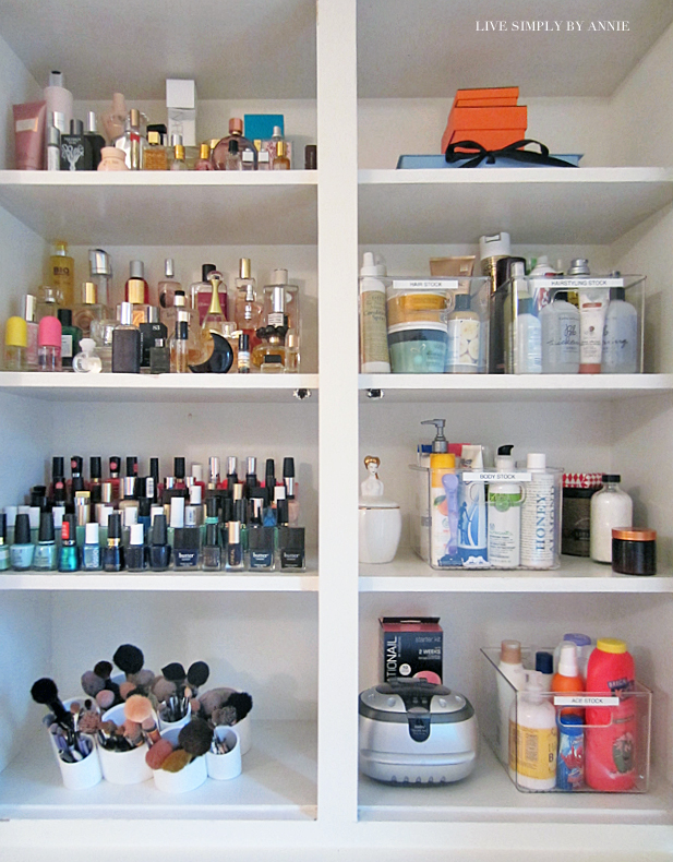 Organized cosmetics, perfume, nail polish, makeup brushes and more! Live Simply by Annie, professional organizing services