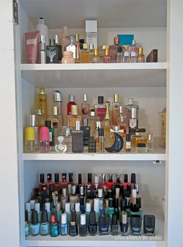 Organized perfume and nail polish shelves  Live Simply by Annie, professional organizing services