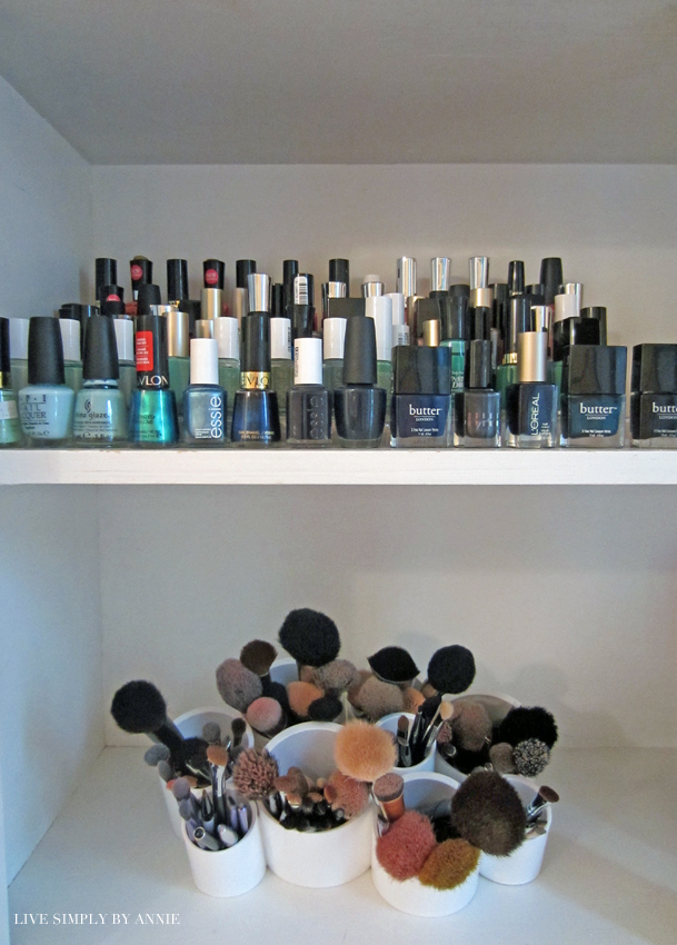Organized nail polishes and makeup brushes  Live Simply by Annie, professional organizing services