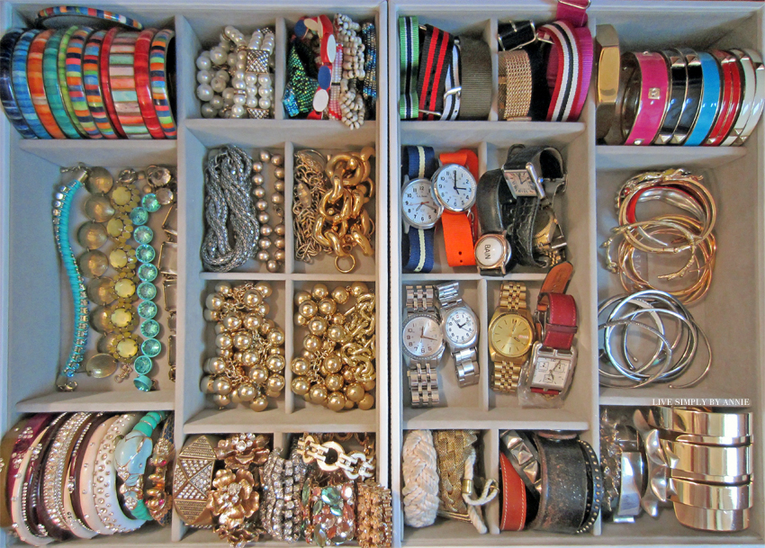 Organized bracelets drawer  Live Simply by Annie, professional organizing services