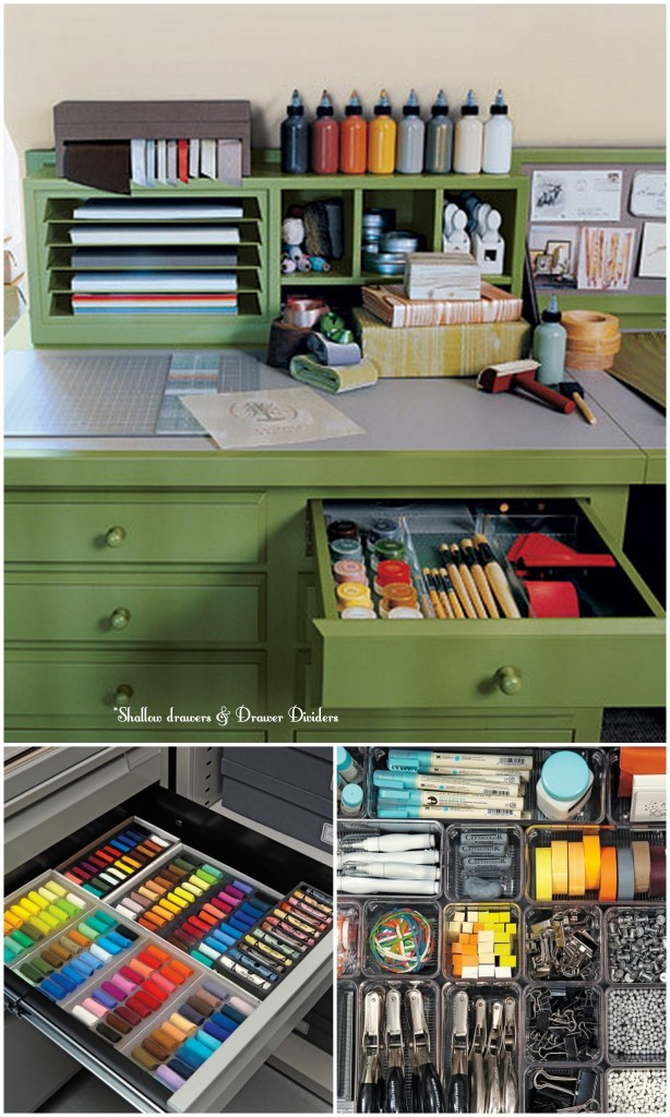 Organizing the art studio live simply by annie - Art desk with storage organization ...