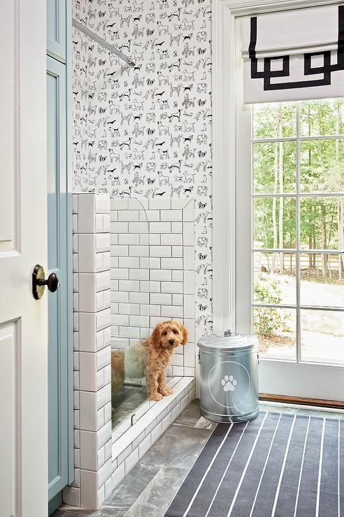 mudroom-dog-shower-thibaut-best-in-show-wallpaper-blue-cabinets