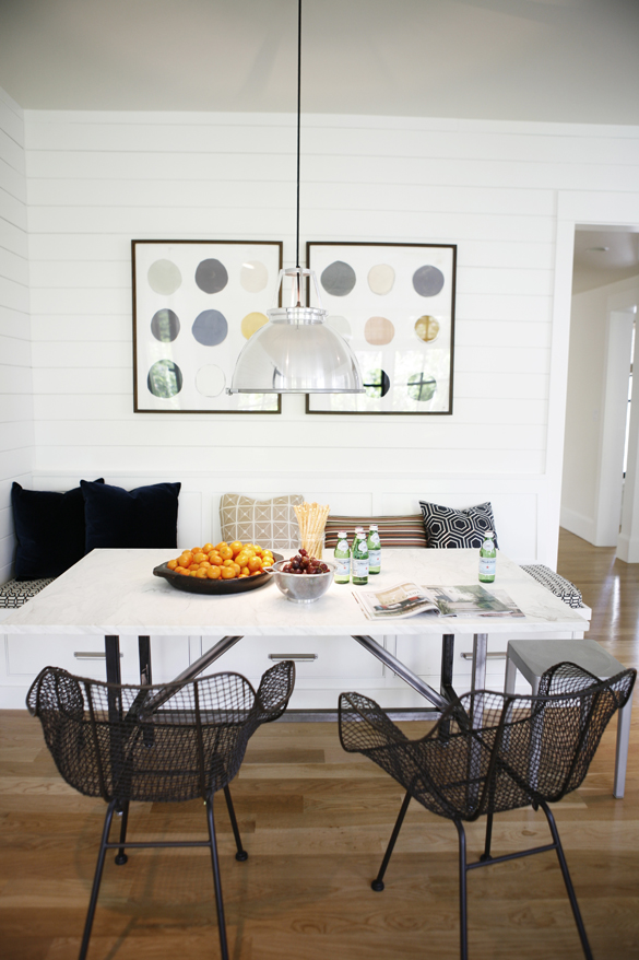Modern farmhouse dining area.