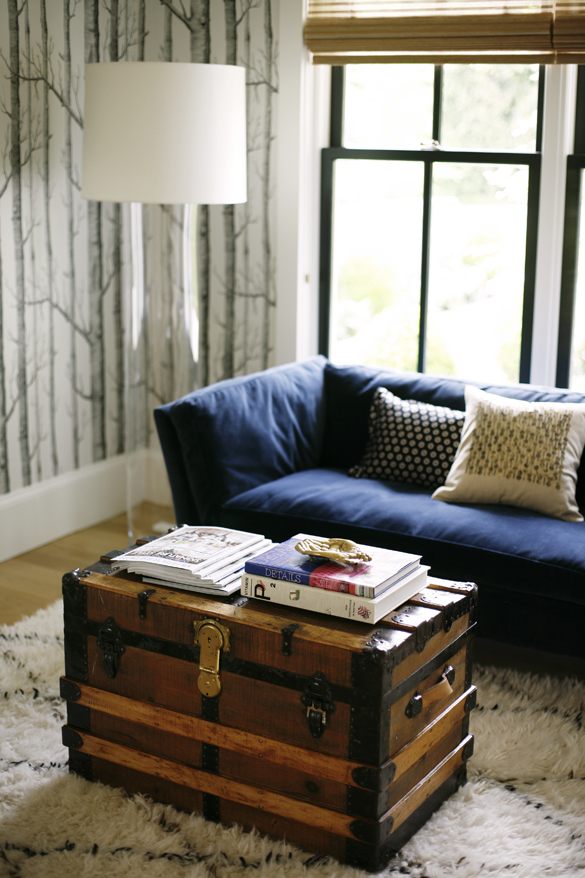a cozy spot in this modern farmhouse. Navy sofa, vintage trunk as coffee table.