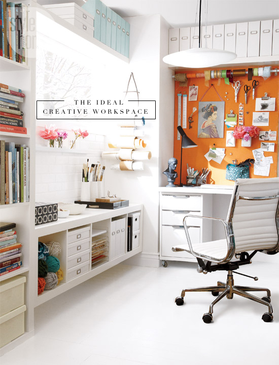 A creative workspace that has a place for everything! Take notes everyone.
