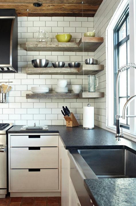 Open shelving in the kitchen as a solution to the problem of the dreaded corner cabinet.