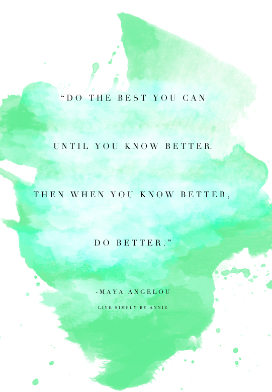 Classic Maya Angelou quote on doing the best you can.