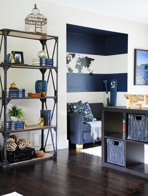 Such a clever way to add stripes to your walls without overdoing it!