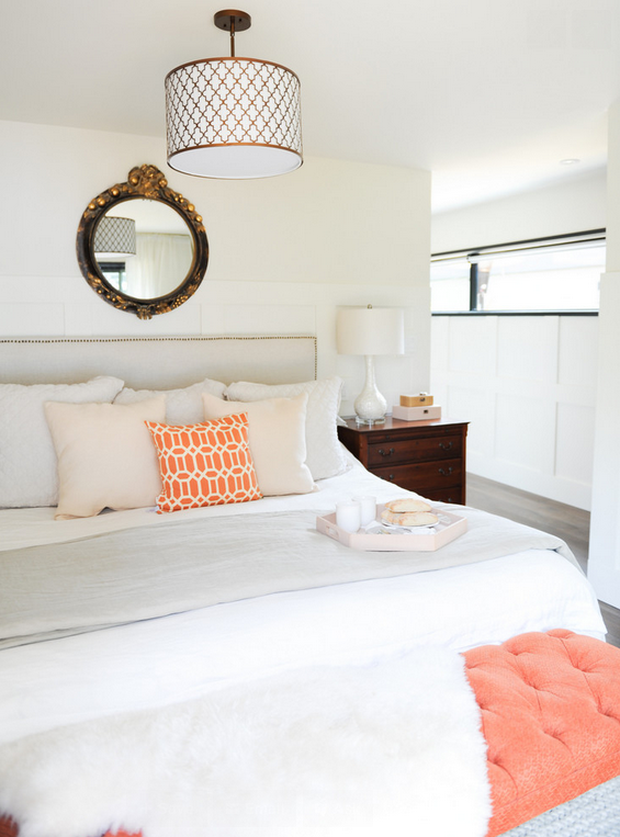 Bedroom by 2e Designs--love the coral bench at the end of the bed!