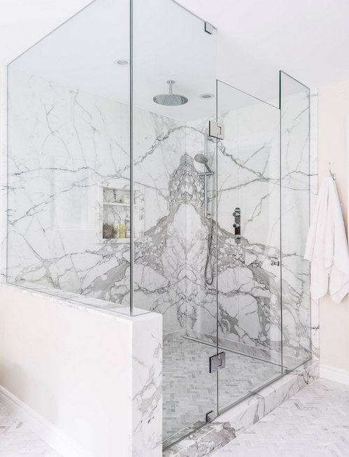 Get a load of this marble shower! From Meghan Carter Design Inc.