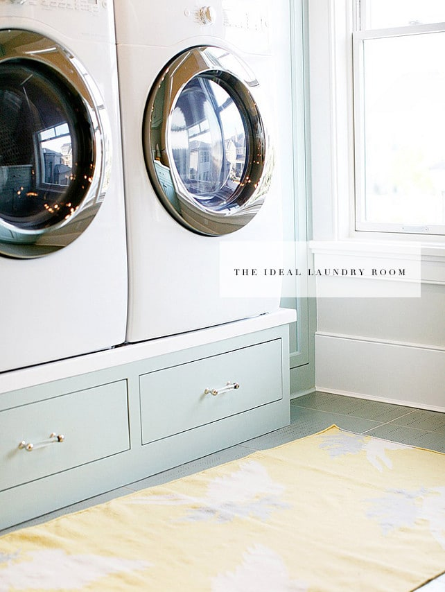 the ideal laundry room definitely has a pedestal washer/dryer. More storage space and less bending over? Sign me up!