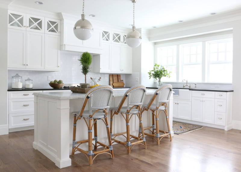 Kitchen design by Studio McGee with bistro stools.