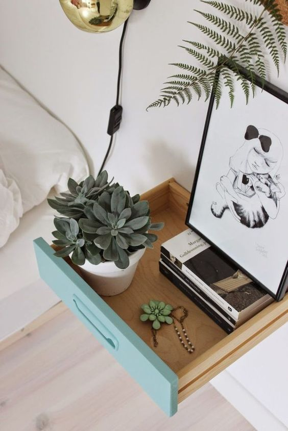 Creative & small-space friendly alternatives to the typical nightstand.