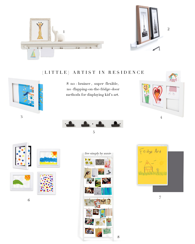 No-brainer, super flexible ways to display (and swap out) kid's art!