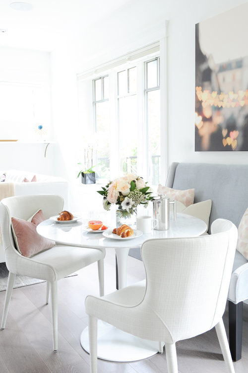 A chic dining space with a French, modern feel.