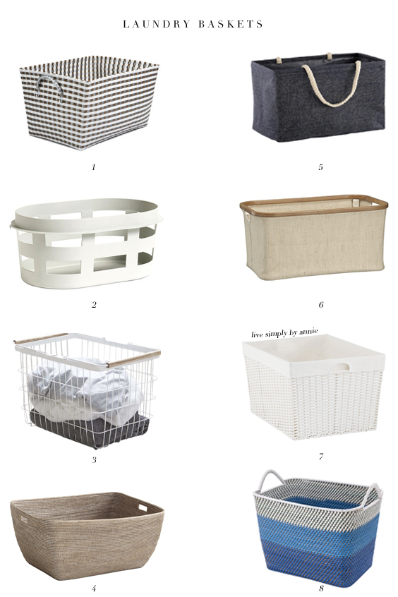 8 laundry baskets perfectly proportioned for clean clothes.