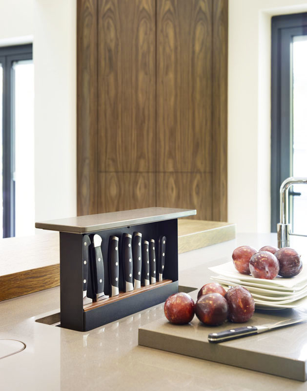 """Uber clever, customized knife storage. File under """"Dream Kitchen"""" features."""