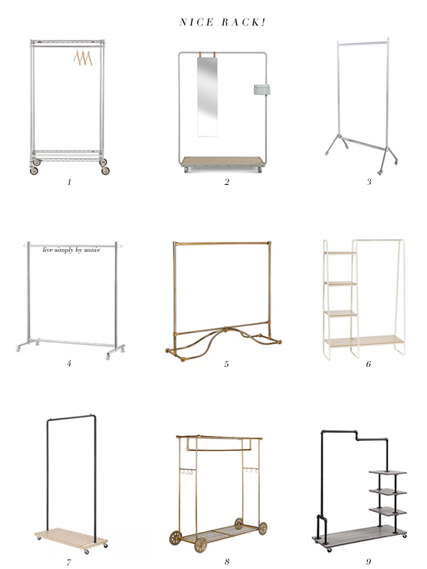 garment racks--the answer to your closet problems.