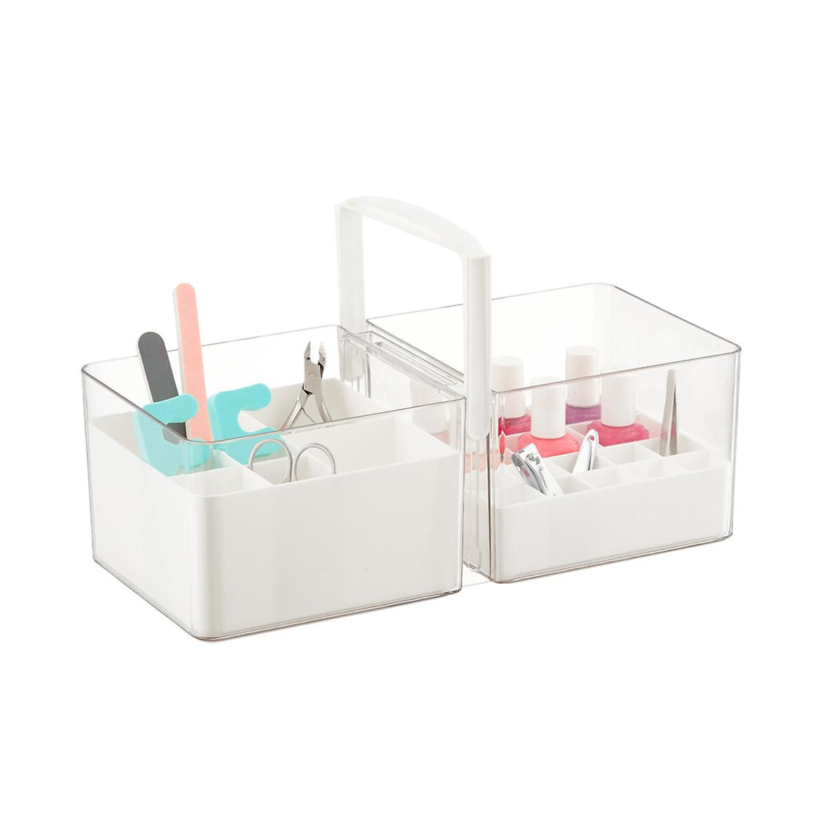 A professional organizer favorite: the portable tote with removable dividers.
