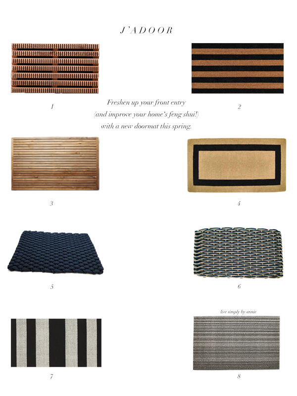 Freshen up your front entry (and improve your home's feng shui!) with a new doormat this spring.